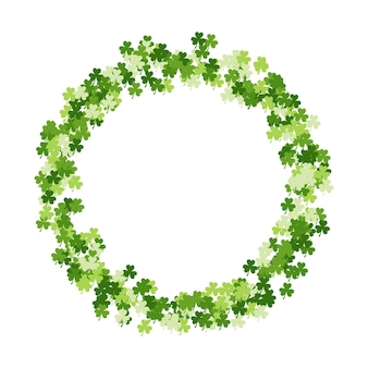 Happy saint patrick's day frame made of trefoil clover