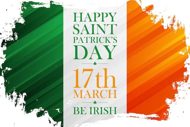 Праздничный баннер с днем святого патрика с мазком кисти ирландского флага
