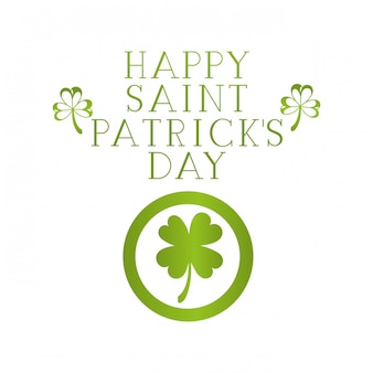 Happy saint patrick`s day label with clover icons