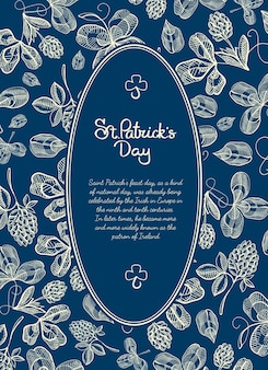 Happy saint patricks day blue poster with text in oval frame and natural sketch irish clover