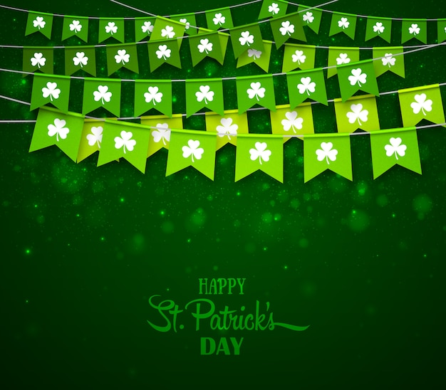 Happy saint patricks day card, garlands with clovers