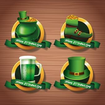 Happy saint patricks day emblems