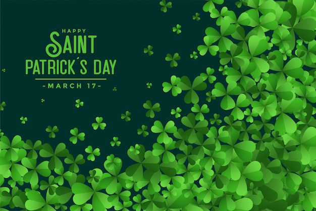 Happy saint patricks day green leaves background