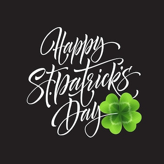 Happy saint patricks day greeting lettering on clovers leaf background.  illustration