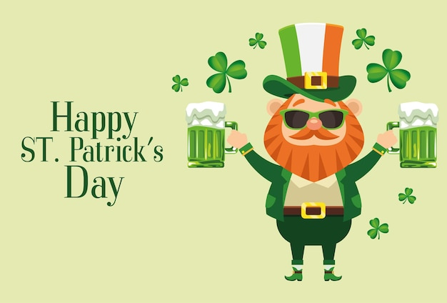 Happy saint patricks day lettering poster with leprechaun lifting beers  illustration