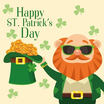 Happy saint patricks day lettering poster with leprechaun lifting hat and treasure  illustration