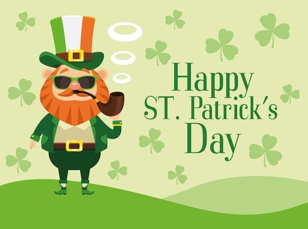 Happy saint patricks day lettering poster with leprechaun smoking pipe  illustration