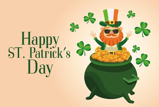 Happy saint patricks day lettering poster with leprechaun in treasure cauldron  illustration