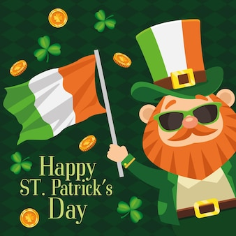 Happy saint patricks day lettering poster with leprechaun waving ireland flag  illustration