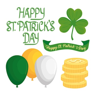 Happy saint patricks day lettering in ribbon and set icons  illustration