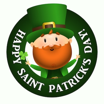 Happy saint patricks day lettering in round frame, leprechaun