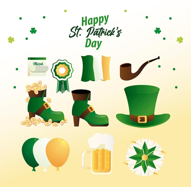 Happy saint patricks day lettering with bundle set icons  illustration