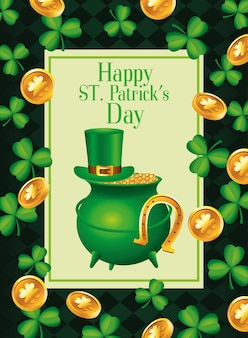 Happy saint patricks day lettering with cauldron treasure and clovers and coins pattern  illustration