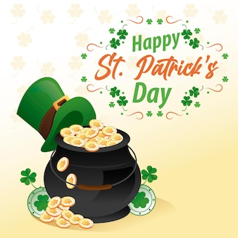 Happy saint patricks day lettering with cauldron of treasure and elf tophat  illustration
