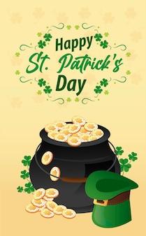 Happy saint patricks day lettering with cauldron of treasure and hat elf  illustration