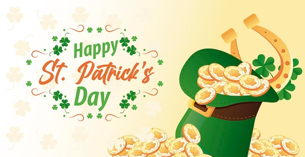 Happy saint patricks day lettering with coins and horseshoe in elf tophat  illustration
