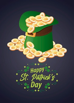 Happy saint patricks day lettering with elf tophat and coins  illustration