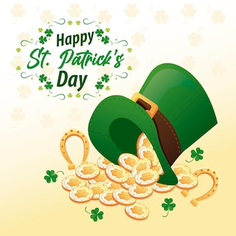 Happy saint patricks day lettering with horseshoes and coins in elf tophat  illustration