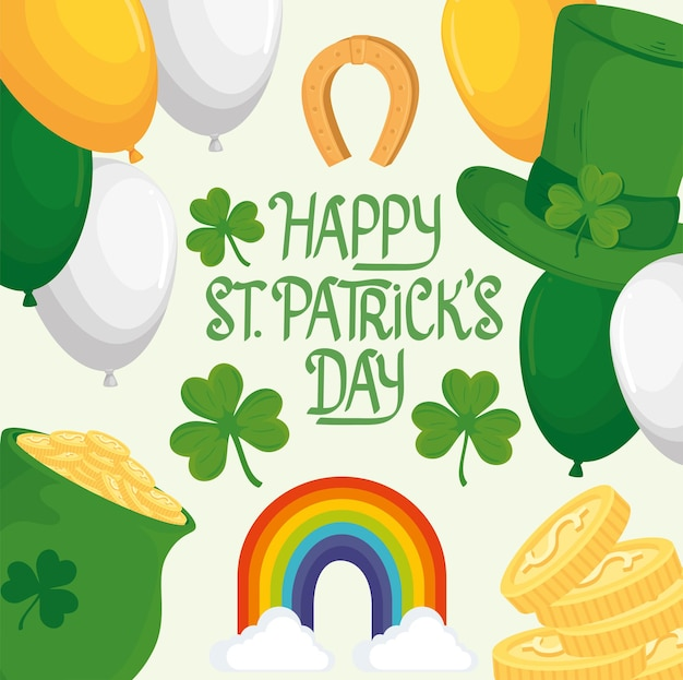 Happy saint patricks day lettering with rainbow and set icons  illustration
