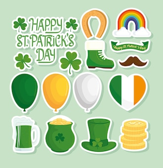 Happy saint patricks day lettering with set icons  illustration
