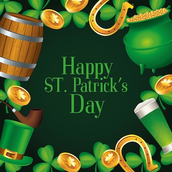 Happy saint patricks day lettering with treasure cauldron and beers  illustration