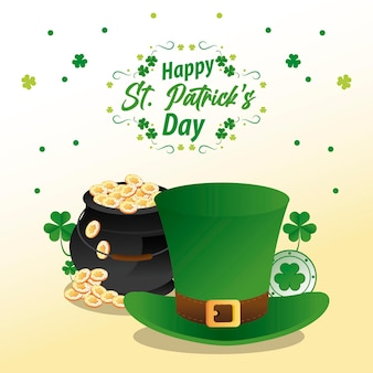 Happy saint patricks day lettering with treasure in cauldron and elf hat  illustration