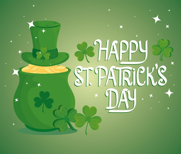 Happy saint patricks day lettering with treasure cauldron and leprechaun tophat  illustration