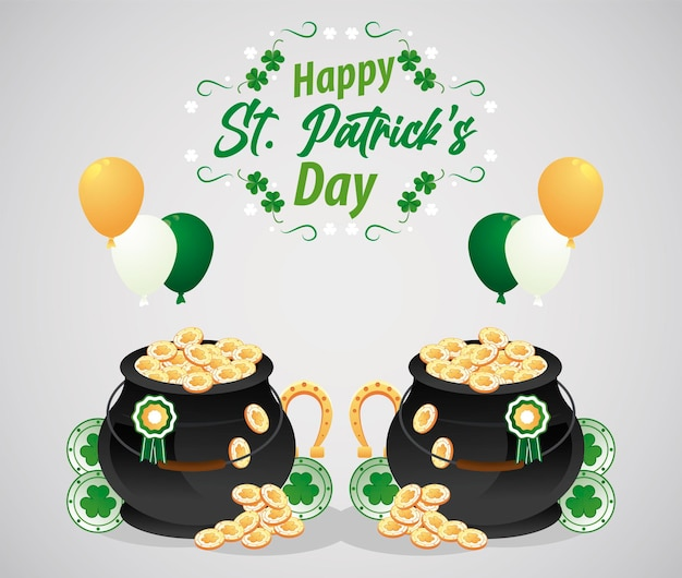 Happy saint patricks day lettering with treasure coins in cauldrons and balloons helium  illustration