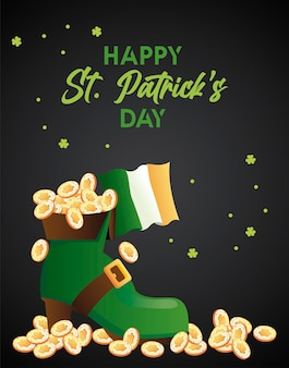 Happy saint patricks day lettering with treasure in elf boot and irish flag  illustration
