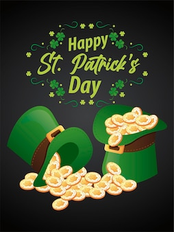 Happy saint patricks day lettering with treasure in elf tophats and clovers  illustration