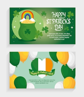 Happy saint patricks day letterings with balloons helium and treasure cauldron  illustration