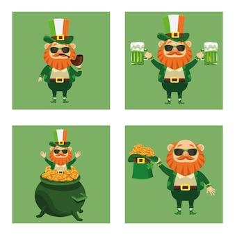 Happy saint patricks day poster with bundle of four leprechaun characters  illustration