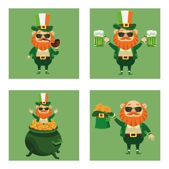 4つのレプラコーンキャラクターイラストのバンドルで幸せな聖パトリックの日のポスター