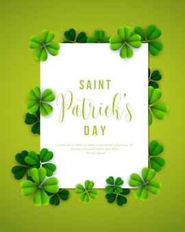 Happy saint patricks day poster with clover leaves