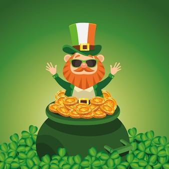 Happy saint patricks day poster with leprechaun in treasure cauldron  illustration