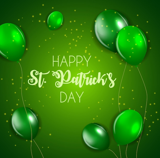 Happy saint patricks day with balloons.