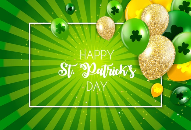 Happy saint patricks day with clover leaves greeting card