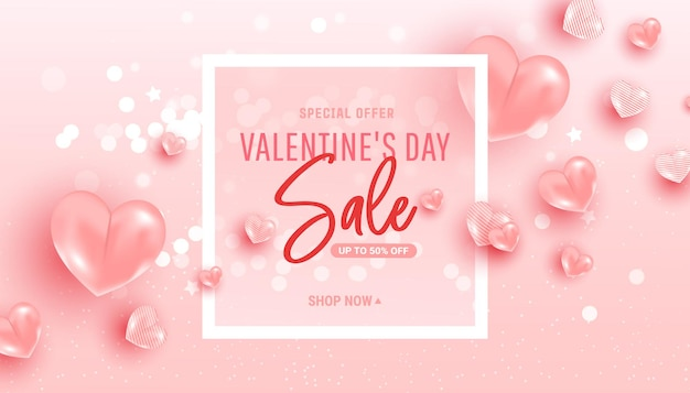 Happy saint valentine day sale background with heart shaped balloons.