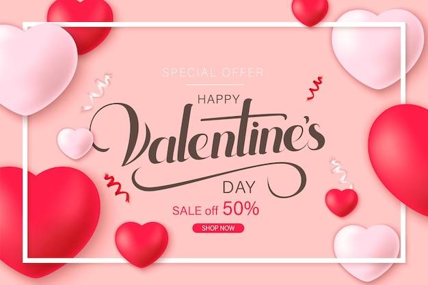 Счастливый день святого валентина баннер с сердечками украшения и цветы розы вырезать из бумаги.