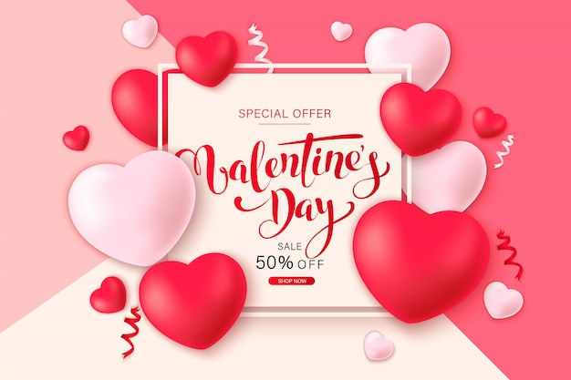 Happy saint valentine's day banner with decoration hearts