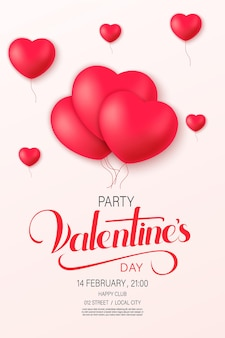 장식 하트와 함께 해피 세인트 발렌타인 데이 포스터