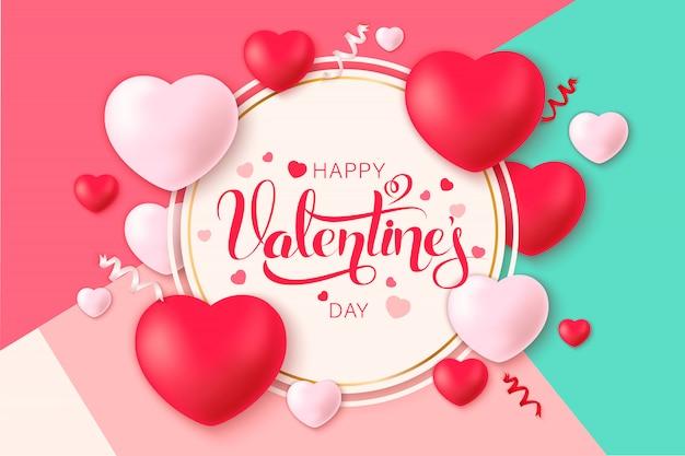 Happy saint valentine's day with decoration hearts