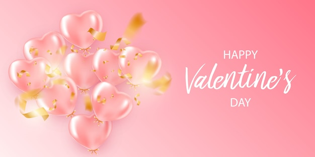 Happy saint valentines day greeting card with balloons in heart shape