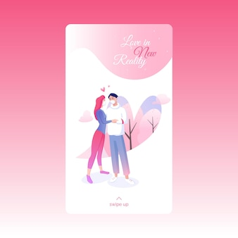 Happy saint valentines day social media story template with cute lovers in facial masks.