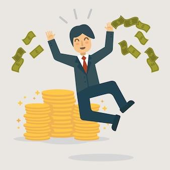 Happy salaryman get bonus illustration.