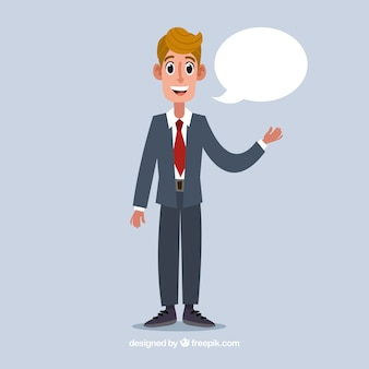 Happy salesman character with flat design