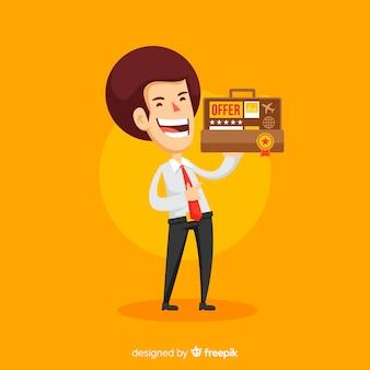 평면 디자인의 행복한 세일즈맨 캐릭터