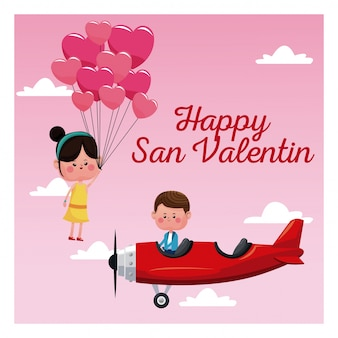 Happy san valentine card boy plane and girl flying balloons