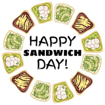 Счастливый сэндвич день венок. бутерброды тосты хлеб здоровый плакат. завтрак или обед веганская еда. сток вегетарианские закуски принт