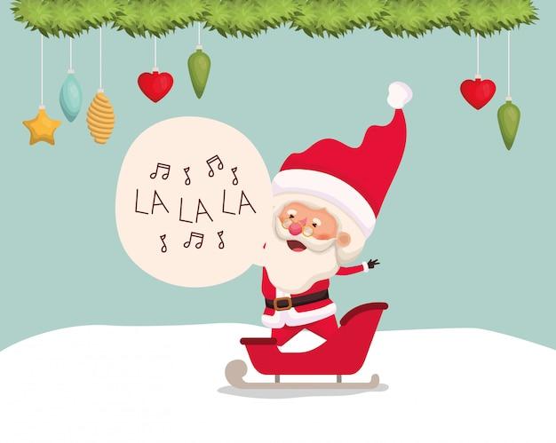 Happy santa claus in carriage